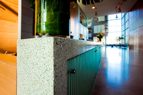 reception desk recycled glass concrete