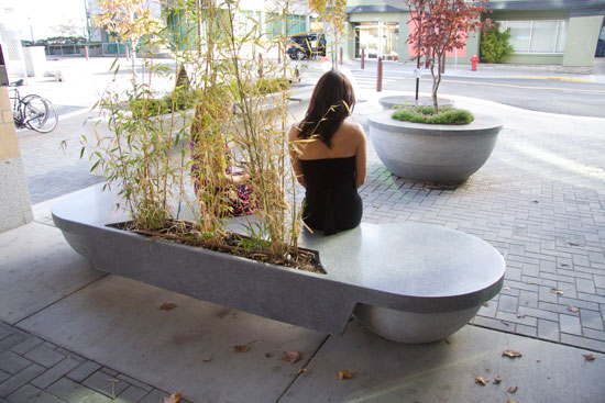 polished concrete bench with bamboo