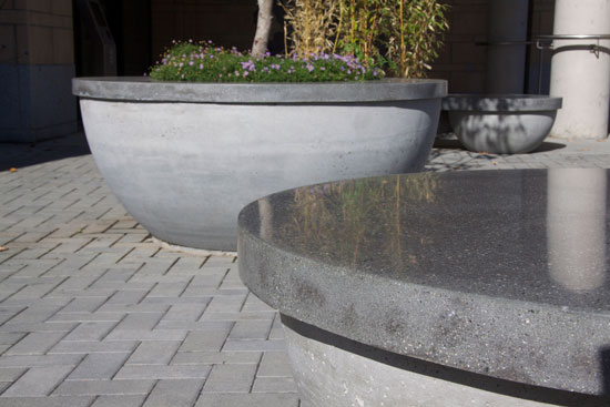 concrete hemispheres with polished tops